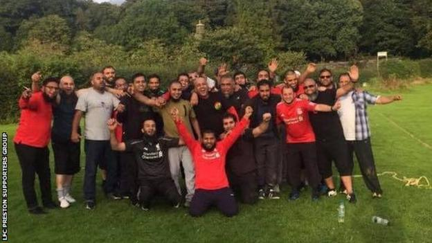 There are 60 members of this Liverpool supporters group in Preston