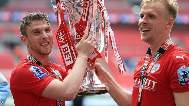 Barnsley celebrate promotion to the Championship