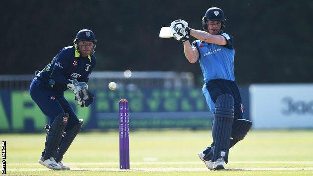 Luis Reece batting for Derbyshire