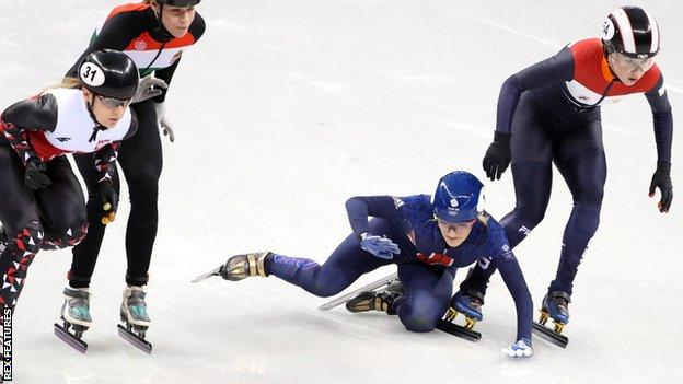 Winter Olympics: Elise Christie's hopes over after 1,000m disqualification