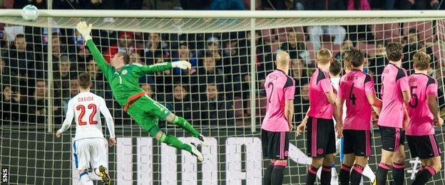 Allan McGregor makes a save for Scotland against Czech Republic