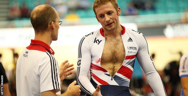 Jason Kenny in action at the Manchester Velodrome