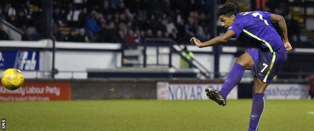 Dominique Malonga scores for Hibernian against Raith Rovers