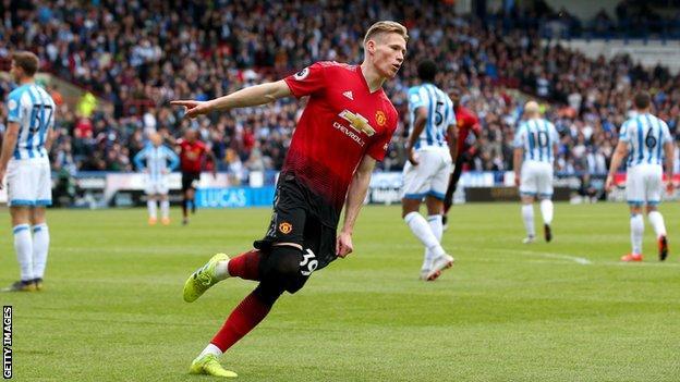 Manchester United's Scott McTominay celebrates scoring against Huddersfield