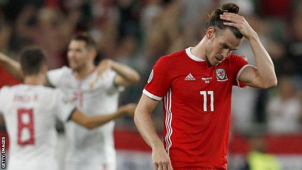 Gareth Bale looks dejected after Wales' 1-0 defeat by Hungary in Euro 2020 qualification