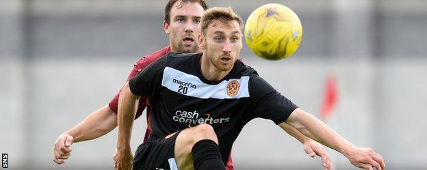 Louis Moult in pre-season action for Motherwell