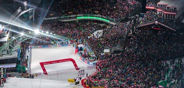 The finish line of the men's slalom event at Schladming
