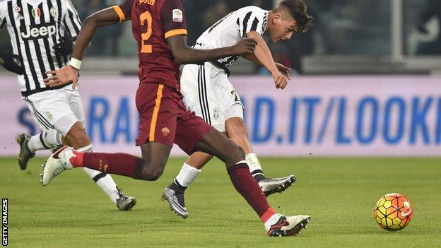 Paulo Dybala scores the winning goal for Juventus against Roma
