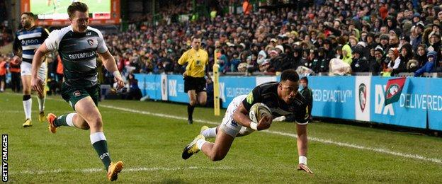 Bath full-back Anthony Watson's seventh-minute try gave Mike Ford's Bath an early lead at Welford Road