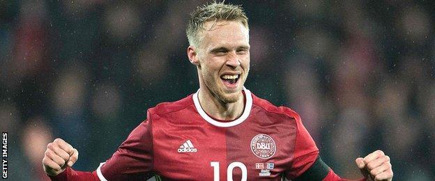 Denmark's Nicolai Joergensen celebrates scoring against Iceland