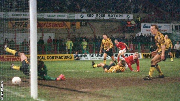Steve Watkin scores against Arsenal in 1992