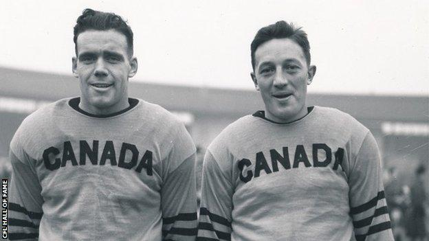 Two Canadian football players