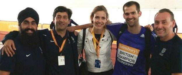 Poora Singh (British Athletics Therapist), my coach (British Athletics National high jump coach) Fuzz Ahmed, Isobel Pooley, Robbie Grabarz and Derry Suter (British Athletics Therapist)