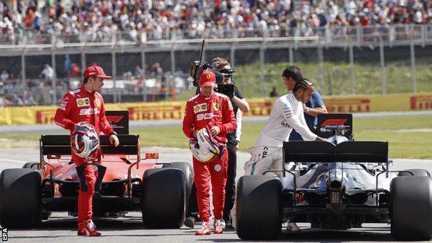 Leclerc, Vettel and Hamilton