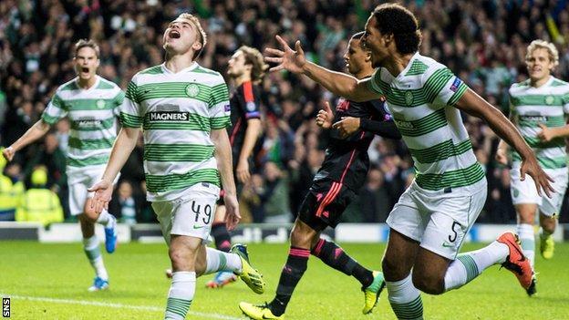 Celtic's James Forrest celebrates scoring against Ajax