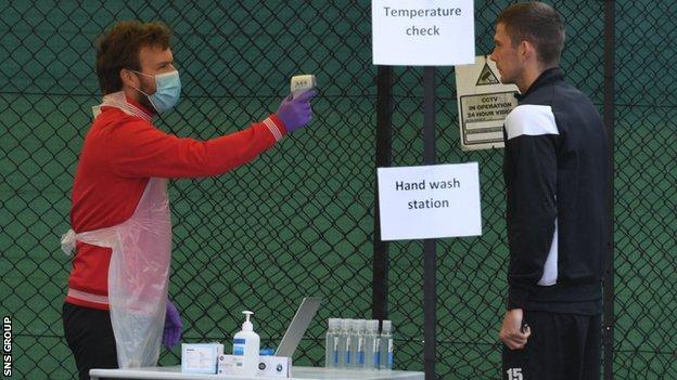 St Mirren player at hygiene centre