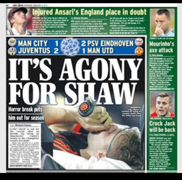 The Daily Express show Shaw having oxygen plus claim Jose Mourinho could axe John Terry for Chelsea's Champions League game