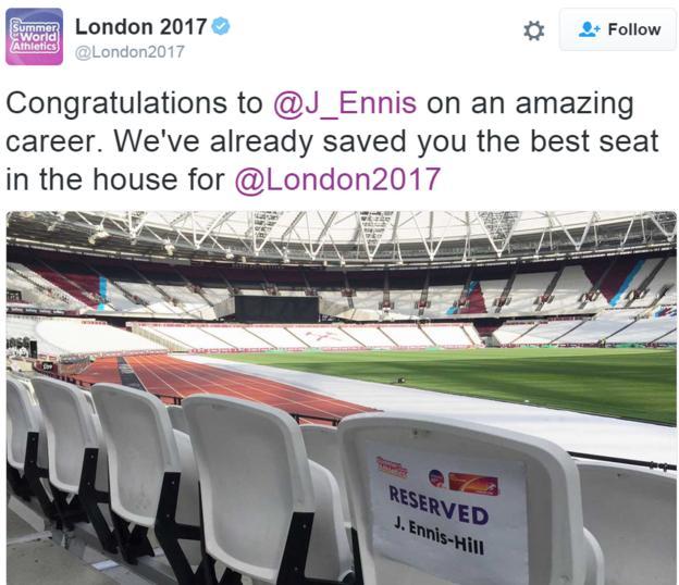A view of the Olympic Stadium with a seat reserved for Jess Ennis-Hill