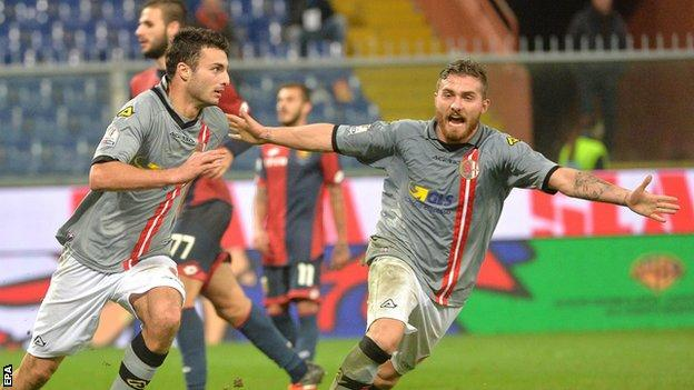 Riccardo Boccalon (left) celebrates scoring