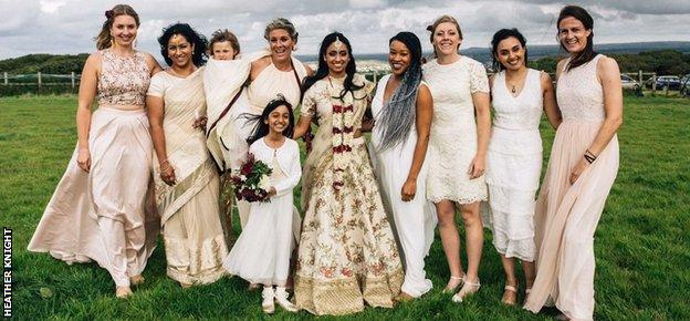 Isa Guha and her bridesmaids - including Heather Knight