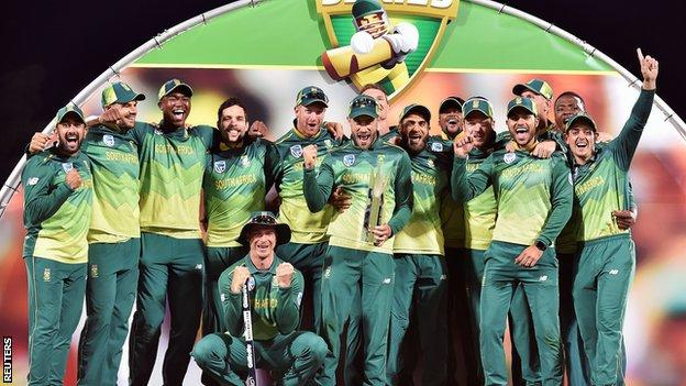 South Africa cricket team celebrate