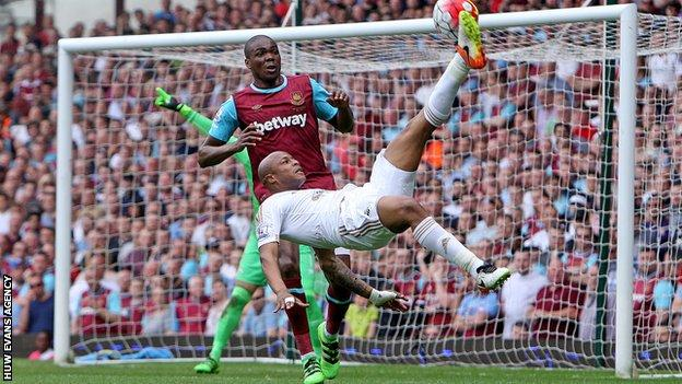 One of Andre Ayew's 15 goals for Swansea in his debut Premier League season included a spectacular overhead kick against West Ham