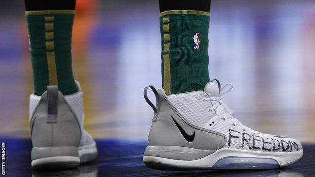 Enes Kanter's basketball shoes