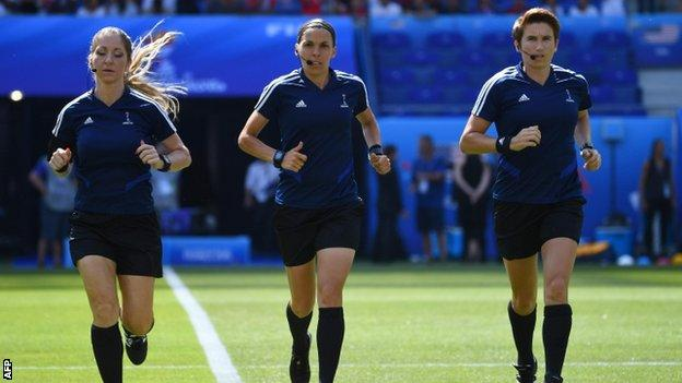 Stephanie Frappart (centre) will be flanked by the same team as the Women's World Cup final: Manuela Nicolosi of Italy (left) and Michelle O'Neill of the Republic of Ireland (right)