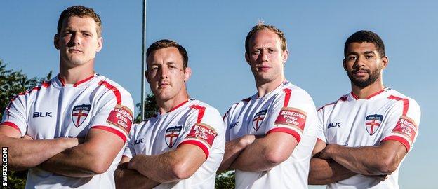 England's Sean O'Loughlin, James Roby, Chris Hill and Kallum Watkins