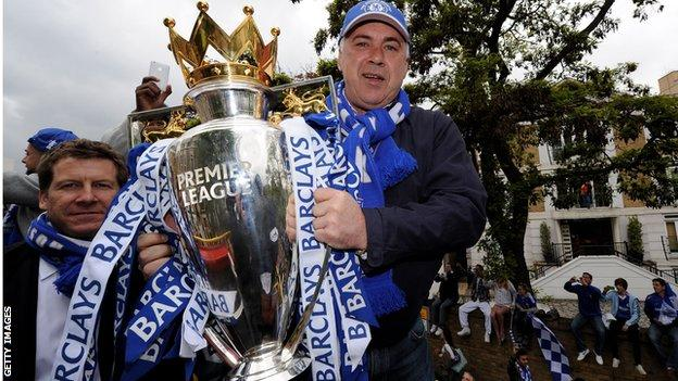Carlo Ancelotti with the Premier League trophy in 2010