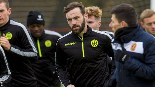 James McFadden in training with Motherwell