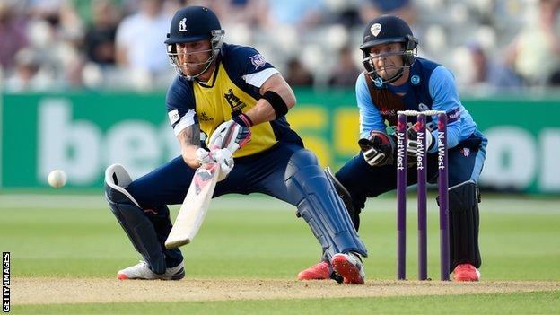 Brendon McCullum plays a ramp shot on his way to 158 not out