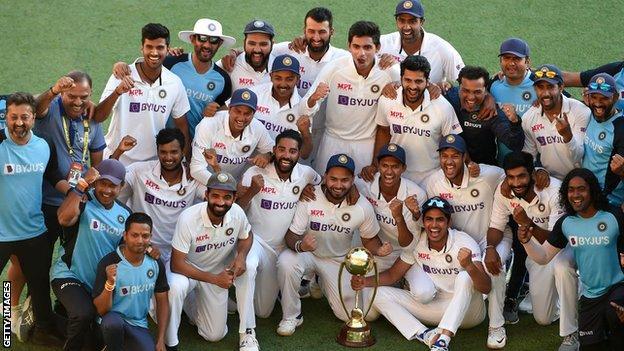 India team celebrate after beating Australia in Brisbane
