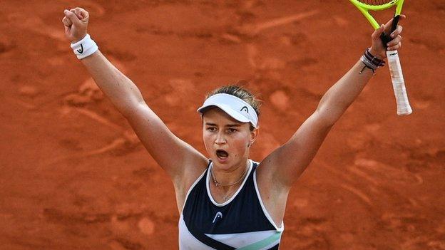 Barbora Krejcikova celebrates winning her French Open semi-final