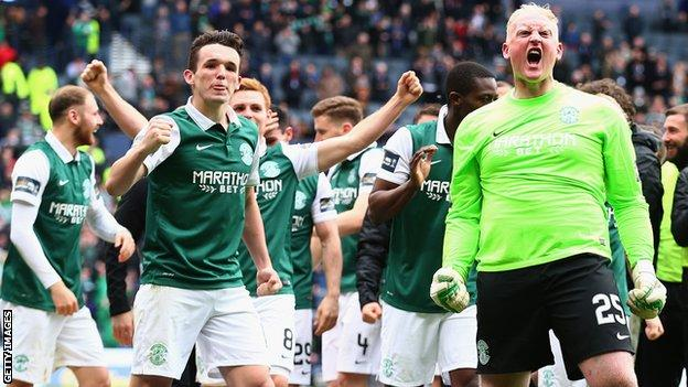 Hibernian players celebrate