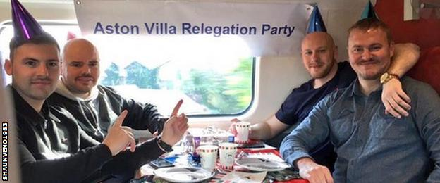 Aston Villa relegation party on a train