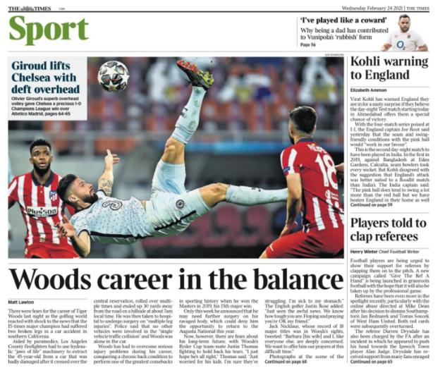 Wednesday's back pages: Times - 'Giroud lifts Chelsea with deft overhead'
