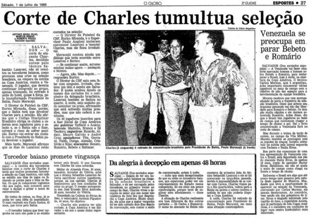 O Globo newspaper report on Charles Fabian's omission from the Brazil squad in 1989