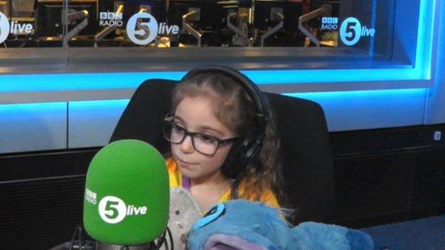 Darcy appearing on Radio 5 live where she met former Manchester United captain Michael Carrick