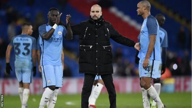 Pep Guardiola joined his Manchester City players on the pitch after the final whistle