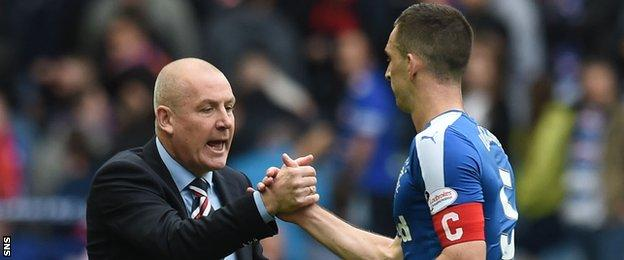 Rangers manager Mark Warburton and captain Lee Wallace