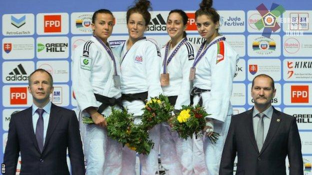 Amy Livesey, second judo player from the left, won the European Under-23 title in 2015