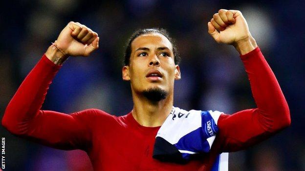Virgil van Dijk celebrates