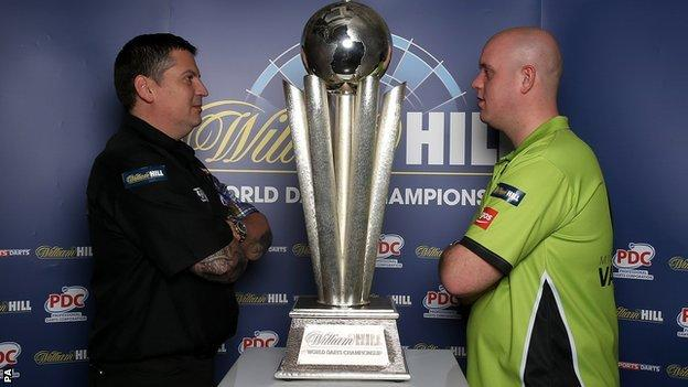 Current world champion Gary Anderson lines up alongside world number one Michael van Gerwen