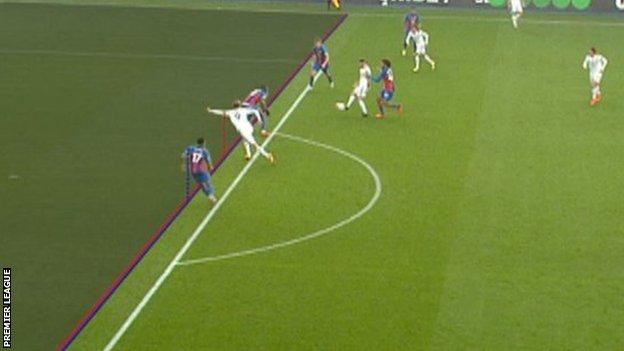 A screengrab of the Patrick Bamford offside decision