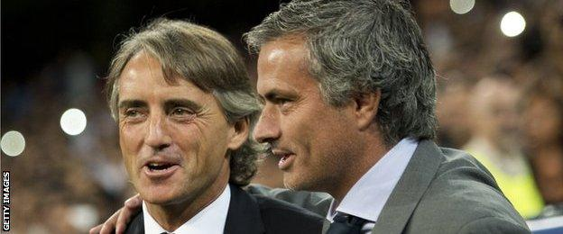 Roberto Mancini and Jose Mourinho