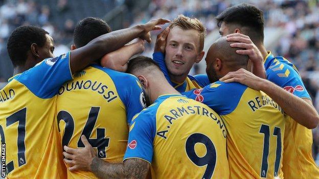 James Ward-Prowse celebrates scoring against Newcastle