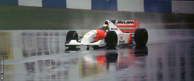 Ayrton Senna driving for McLaren at Donnington in 1993