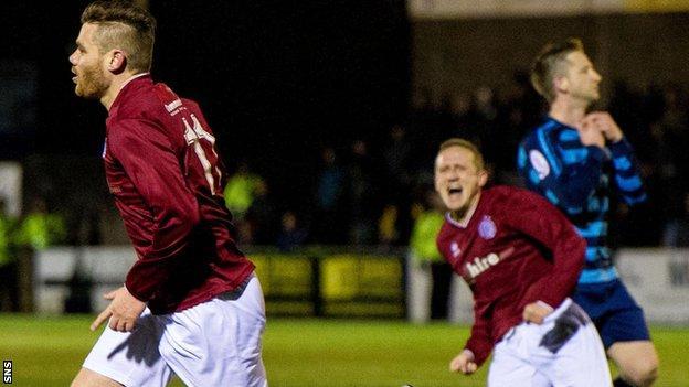 Linlithgow's Kevin Kelbie (left) celebrates his winning goal