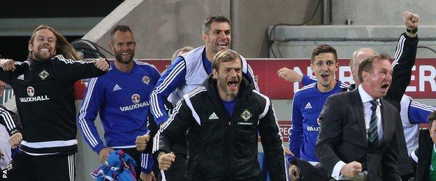 Michael O'Neill celebrates after Kyle Lafferty's late equaliser against Hungary
